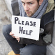 Homeless Young Man Begging In Street - Photo