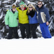 Foto Stock: Group Of Young Friends On Ski Holiday In Mountains