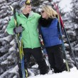 Young Couple On Ski Holiday In Mountains — ストック写真