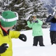 Group Of Young Friends Having Snowball Fight On Ski Holiday In M - Zdjęcie stockowe