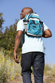 Young man on country hike — Stock Photo