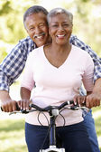 Casal sênior de bicicleta no parque — Foto Stock