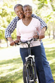 Senior couple cycling in park — Foto de Stock
