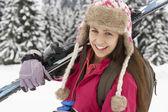 Teenage Girl On Ski Holiday In Mountains — Stock Photo