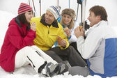 Group Of Middle Aged Friends Eating Sandwich On Ski Holiday In M — Stock Photo