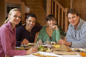 Group Of Friends Enjoying Meal In Alpine Chalet Together — Stock Photo