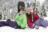 Two Teenagers On Ski Holiday In Mountains — Stock Photo