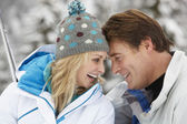 Middle Aged Couple On Ski Holiday In Mountains — Stock Photo