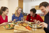 Teenage Family Eating Lunch Together In Kitchen — Stock Photo