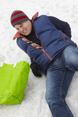 Man Slipped And Injured Back On Icy Street — Stock Photo