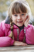 Outdoor Portrait Of Young Girl Wearing Winter Clothes — Stock Photo