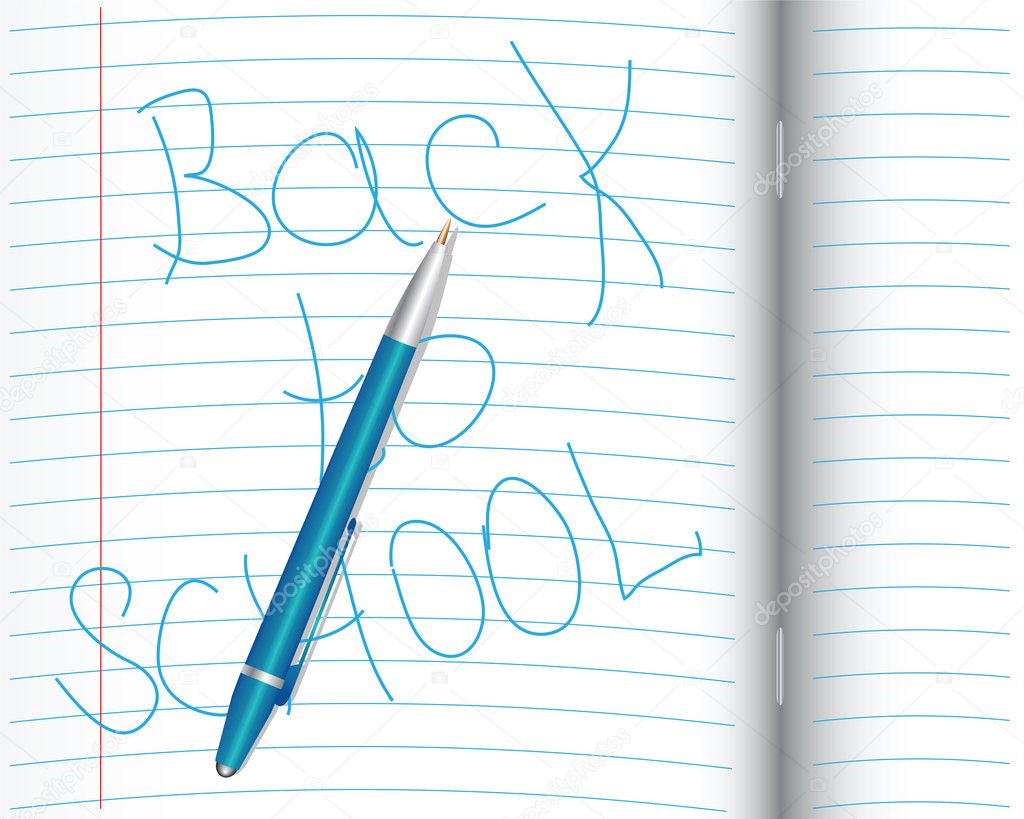 The school opened with a pen and a notebook labeled  Stock Vector #11050808