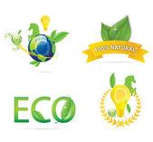 Nature earth eco sign set green color — 图库矢量图片