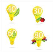 Nature eco gold bulb symbols set — Stock Vector