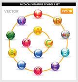 Health medicine vitamins pill set isolated — Vector de stock