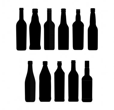 Abstract bottle sign set black color