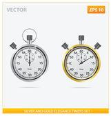 Plata y oro vector temporizadores de elegancia — Vector de stock