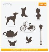 Silhouetten-vögel und objekte-set — Stockvektor