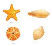 Abstract yellow sea symbols set — Stock Vector
