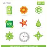 Green vector nature eco sign set — Stock Vector