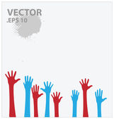 Blue and red hands vector illustration — Stock Vector