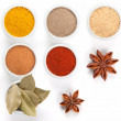 Different spices in white bowls isolated on white background. — Stock Photo