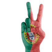 Portugal Flag On Hand. — Stock Photo
