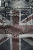 Flag Of United Kingdom On Jeans. — Stock Photo
