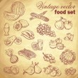 Vintage hand-drawn food set with fruit and vegetables — Image vectorielle