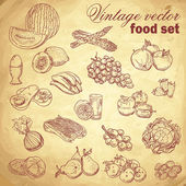 Vintage hand-drawn food set with fruit and vegetables — Stock Vector
