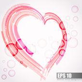 Zbavena srdce lásku pohlednice s bublinami — Stock vektor