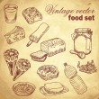 Vintage hand-drawn food set with various tasty things — Stock Vector