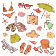 Hand drawn retro icons summer beach set on a paper background — Stock Vector