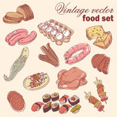 Vintage hand-drawn food set — Stock Vector