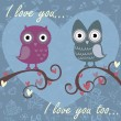 Valentine love card with owls and hearts - Vettoriali Stock
