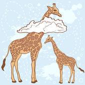 Linda jirafa de patrones sin fisuras las nubes — Vector de stock