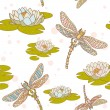 Stock Vector: Dragonflies and water lilies seamless pattern
