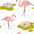 Pink flamingo with water lily flower seamless texture — Stock Vector