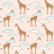 Stock Vector: Cute giraffe in clouds seamless pattern