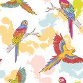 Parrot ara seamless grunge pattern — Stock Vector