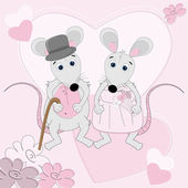 Mouse wedding greeting card — Stock Vector