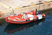 Inflatable motor boat — 图库照片