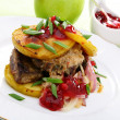 Veal liver with apple and berry sauce. - Stock Photo