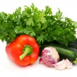 Fresh vegetables and parsley. - Stock Photo