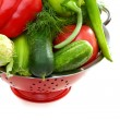 Fresh vegetables in metal colander. — Stock Photo #11266361