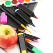 School supplies and apple. — Stock Photo #11799655