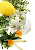 Teacup, herbs and lemon. — Stock Photo