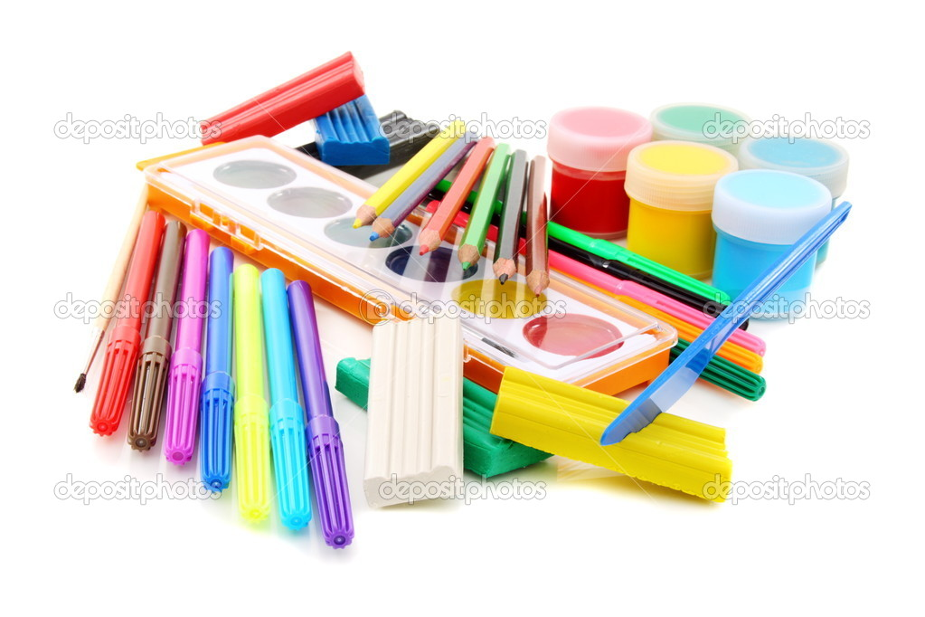 Set for drawing and sculpting on a white background. — Stock Photo #11944016