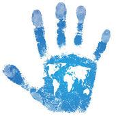 Hand world map print — Stock Vector