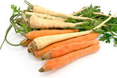 Fresh carrot and parsley with root — Stock Photo